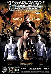 A poster or logo for UFC 41: Onslaught.