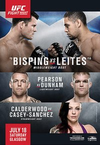 A poster or logo for UFC Fight Night: Bisping vs. Leites.