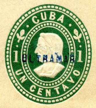 """Specimen stamp - An overprint of """"ULTRAMAR"""" (overseas) used by Portuguese U.P.U. officials to designate specimens and prevent reuse as postage.  Taken from wrapper printed in U.S. for occupied Cuba, 1899."""