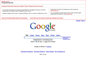 Rogers injects a warning message into Google.