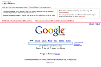Rogers Hi-Speed Internet - Rogers injects a warning message into Google.com