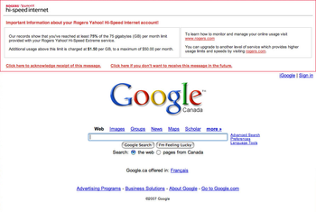 Rogers injects a warning message into Google.com