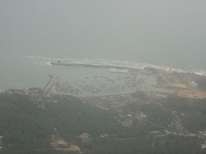 Vizhinjam - An aerial view of Vizhinjam Harbour