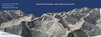 Lenin Peak - Image: Wiki Lenin Peak routes