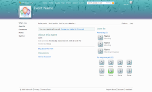 Windows Live Events - A sample Windows Live Events page.