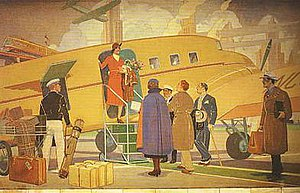 Allen Tupper True - Airplane Travel, 1937, one of two murals made for the Brown Palace Hotel, in Denver, Colorado