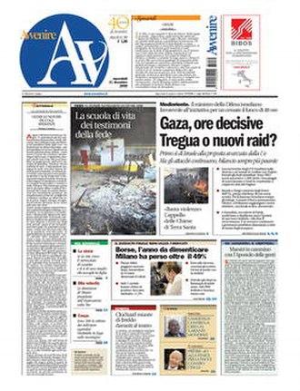 Avvenire - Front page, 31 December 2008