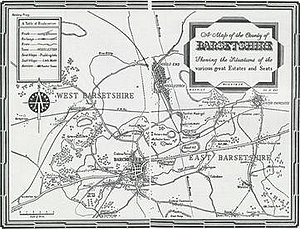 Barsetshire - 1953 map by Maurice Weightman published as endpapers for Thirkell's Jutland Cottage