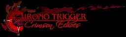"A logo that reads ""Chrono Trigger: Crimson Echoes"", with the first ""C"" resembling a clock."