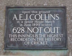 A. E. J. Collins - Plaque at Clifton College, fixed in 1962