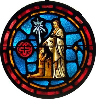 Confirmation - A stained glass representation of a Lutheran Confirmation