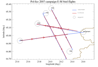 Collocation (remote sensing) - Map of E-M Bird flights from Pol-Ice campaign along with coincident EMIRAD flights