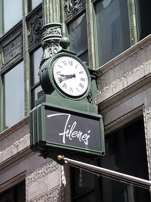 Filene's - Boston's own variation of the saying meet me under the clock with Filene's clock on Washington street