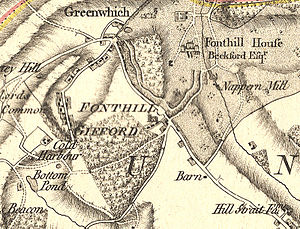 Fonthill Gifford - Detail from Andrews' and Dury's Map of Wiltshire, 1773