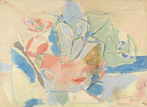 Helen Frankenthaler - Mountains and Sea, 1952, 86 5/8 x 117 1/4 inches (220 x 297.8 cm.), oil and charcoal on canvas, on extended loan to the National Gallery of Art, Washington, DC.