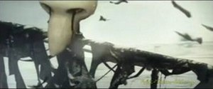 """Fuck Them All - A scarecrow whose eyes weep black blood, made by the Swiss artist Martial Leiter, in the music video for """"Fuck Them All""""."""
