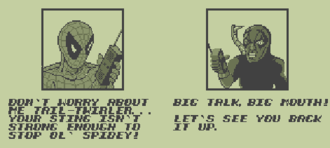 The Amazing Spider-Man (handheld video game) - A typical left-to-right panning interlude between levels. Spider-Man is on the left and Scorpion on the right.
