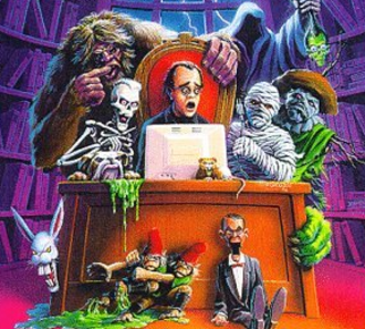 Goosebumps - An illustration of R. L. Stine with some of his creations. This illustration was from the cover of Stine's autobiography, It Came from Ohio!: My Life as a Writer.