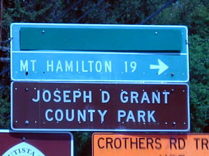 Grant Ranch County Park - Directional sign to Joseph D. Grant County Park begins at the ascent of SR 130 to Mount Hamilton.