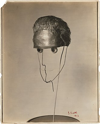 Jean Crotti - Jean Crotti, 1915, Portrait of Marcel Duchamp (Sculpture made to measure), mixed media. Exhibited Montross Gallery 4-22 April 1916, New York City. Sculpture lost or destroyed. Photo: MoMA