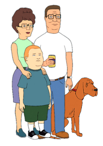 King of the Hill - The Hill family. From the left: Peggy (back), Bobby, Hank, and their dog, Ladybird.