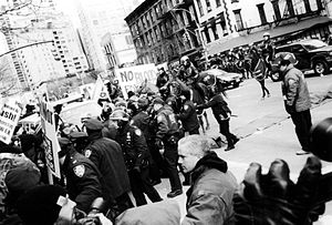 15 February 2003 anti-war protests - NYPD officers advance on protesters during a brief outbreak of violence