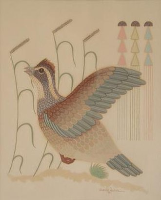 Gerald Nailor Sr. - Quail by Gerald Nailor, serigraph, 1951. Note stylized sideoats grama grass in background. Beginning in 1942, he was commissioned to paint the history of the Navajo people for a large mural at the Navajo Nation Council Chamber, which has been designated a National Historic Landmark.