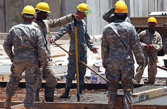 36th Engineer Brigade (United States) - Soldiers from the 36th Engineer Brigade work on a construction project in Iraq.