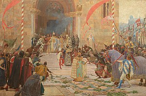 Serbs of the Republic of Macedonia - A composition painted by Paja Jovanović which depict Emperor Stefan Dušan introducing Dušan's Code in Skopje in 1349