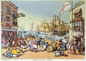 Portsmouth Point by Thomas Rowlandson.