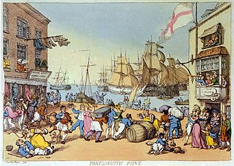 """Portsmouth Point (Walton) - """"Portsmouth Point"""", an etching by Thomas Rowlandson."""