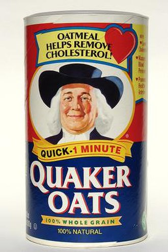 "Quaker Oats Company - Quaker Oats box, featuring the pre-2012 ""Quaker Man"" logo"