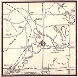 Raintree County (novel) - Map of Raintree County by illustrator John V. Morris, based on author's sketch