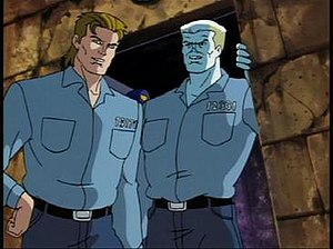 """Richard Fisk - Richard Fisk (left) and Tombstone (right) as seen in Spider-Man: Animated Series episode """"Guilty."""""""