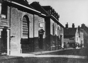 Sir Joseph Williamson's Mathematical School - The oldest known photograph of the Mathematical School. Free School Lane is in the distance. Taken c 1880.