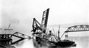Second Narrows Bridge - The S.S. Losmar after knocking down a span of the Second Narrows Bridge.
