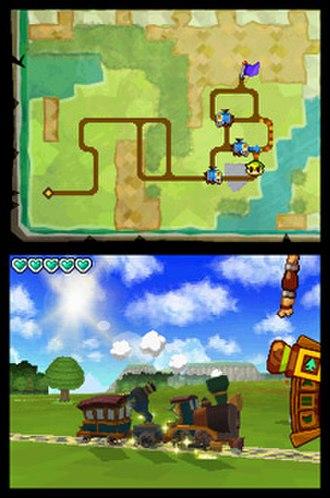 The Legend of Zelda: Spirit Tracks - Link operating the Spirit Train along the Spirit Tracks in the overworld.