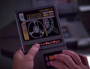LCARS - Close-up of a PADD, as seen in Star Trek: Deep Space Nine