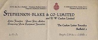 Stephenson Blake - Stephenson Blake's letterhead logo in 1950.