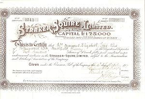 Straker-Squire - Straker-Squire share certificate from 1917.
