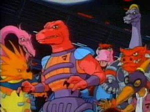 Dinosaucers - The Evil Tyrannos. (From left to right) Styraco, Plesio, Genghis Rex, Quackpot, Brachio, Ankylo and Terrible Dactyl