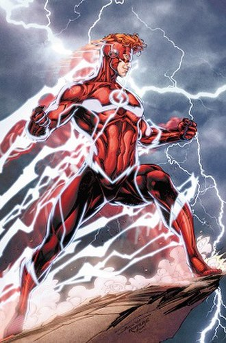 Wally West - Wally West's new costume as the Flash is in homage to his previous Kid Flash and the Flash costumes. Promotional art for DC Rebirth by Brett Booth and Norm Rapmund.
