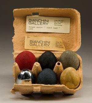 Robert Watts (artist) - Black Eggs, 1964, a piece included at the American Supermarket exhibition at New York's Bianchini Gallery. This piece is now in the National Gallery of Art, Washington