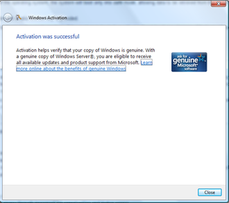 Windows Genuine Advantage - A successful activation on Windows Server 2008 Enterprise (same dialog will show on Windows Vista and Windows 7)