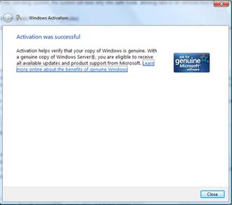 Windows Genuine Advantage - A successful activation on Windows Server 2008 Enterprise (same dialog will show on WindowsVista and Windows7)