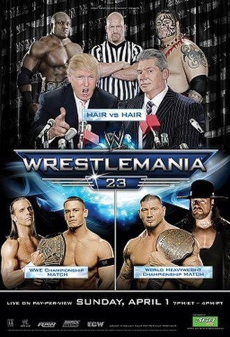 WrestleMania 23 - Promotional poster featuring Donald Trump and various WWE wrestlers