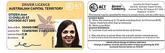 Driving licence in Australia - The front and back of an ACT Driver Licence