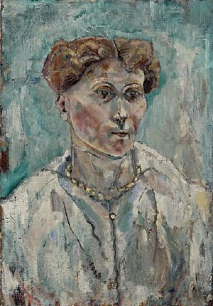 Albert Paris Gütersloh - Portrait of a Woman, 1914,(oil on canvas, 54.6 cm × 38.5 cm), Leopold Museum Private Foundation, Vienna