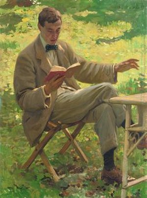 Alfred Munnings - Alfred Munnings Reading Aloud Outside on the Grass, c. 1911, by Harold Knight.