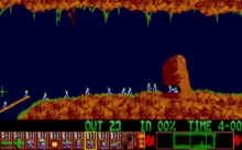Lemmings building a bridge over a chasm and excavating a tunnel through a rock formation.